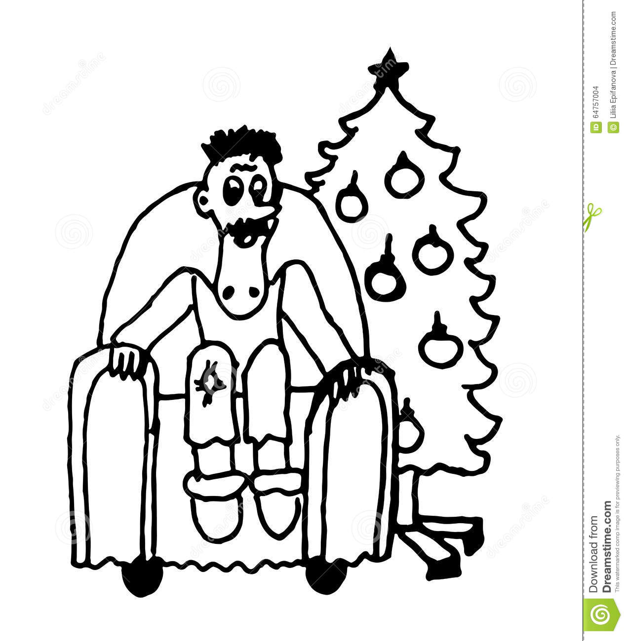 Man sitting in chair drawing - Royalty Free Vector