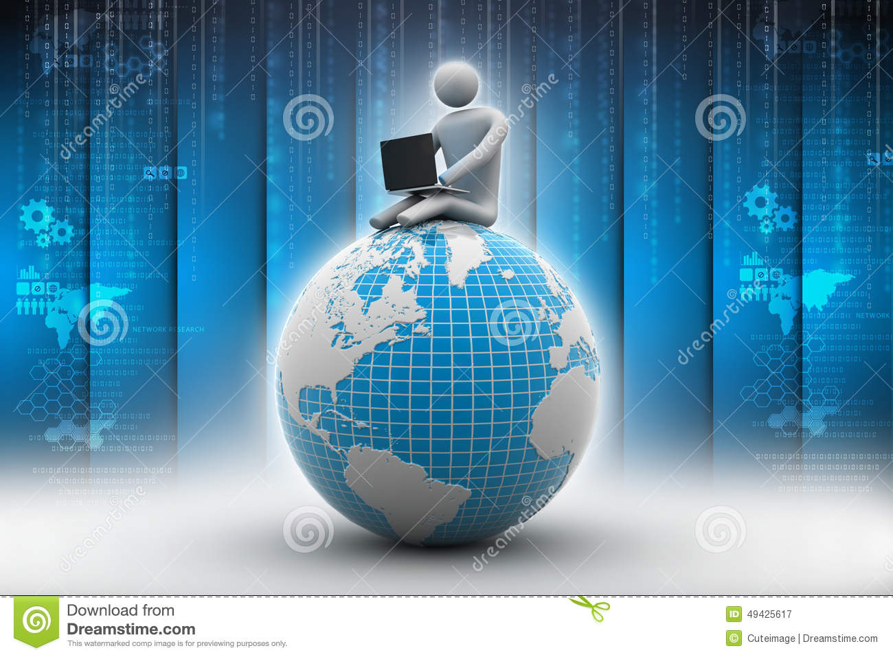 d8788432a49c Man Sitting On Globe With The Laptop Stock Illustration ...