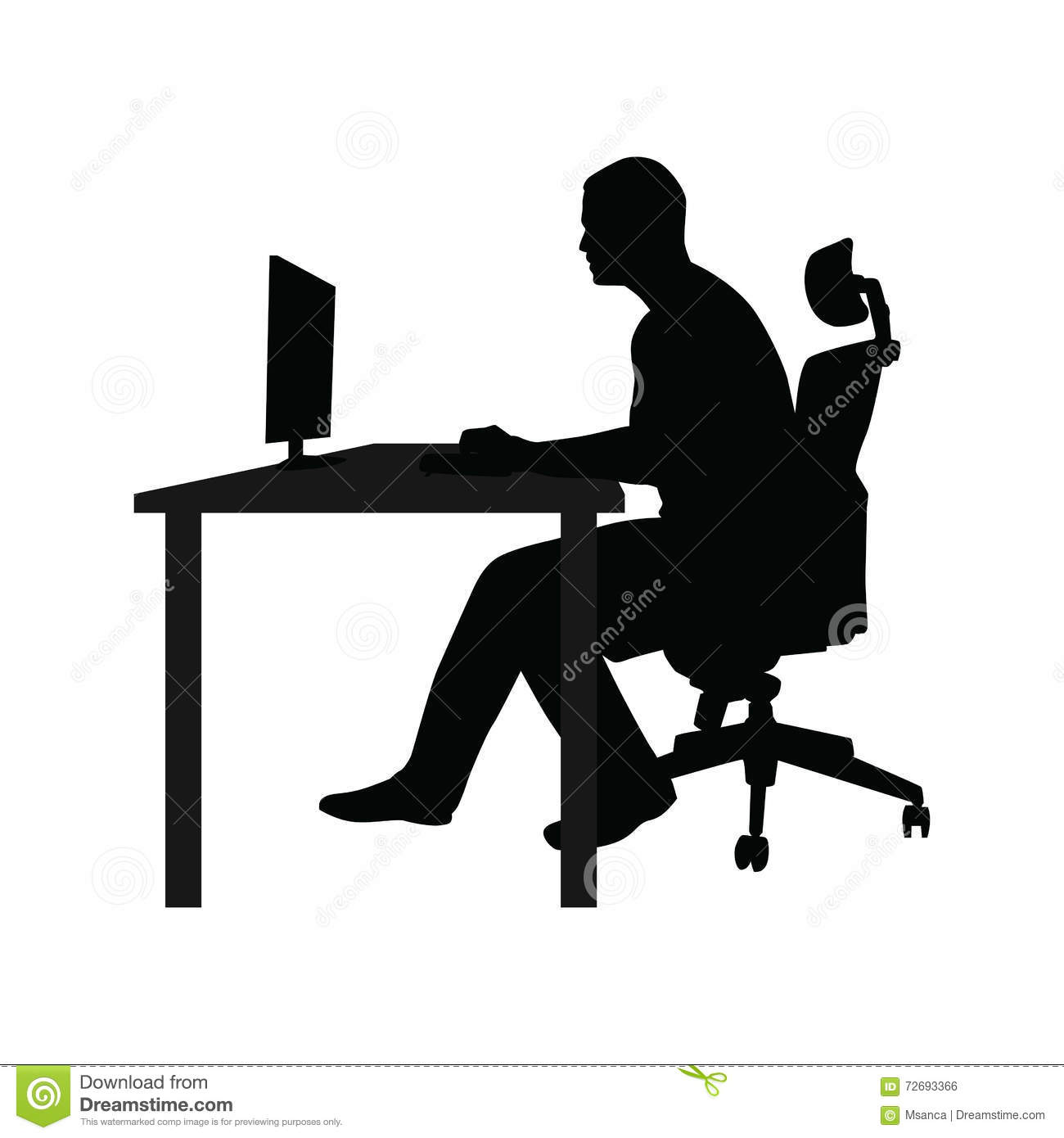 Man Sitting On Office Chair At Table And Working Stock Vector