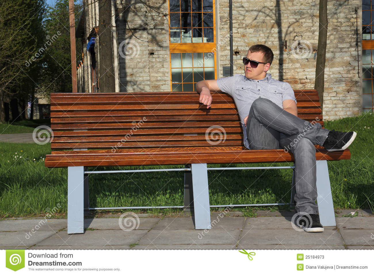 Man Sitting In Park On The Bench Stock Photos Image 25184973