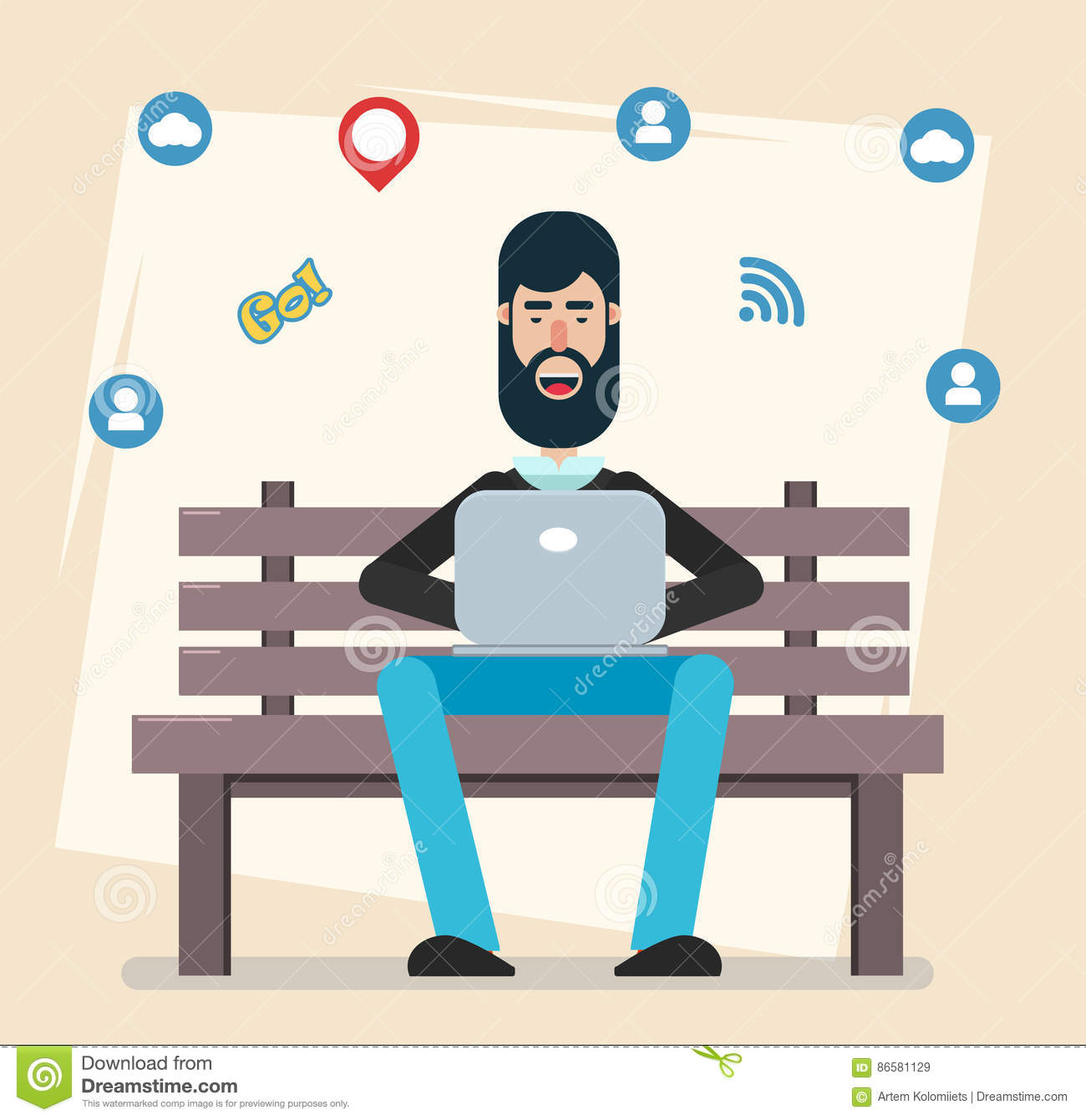 Attractive Bench Games Part - 11: Man Sitting In The Park On The Bench With Laptop, Working, Playing Computer  Games, Social Networking Or Texting To His Friends. Modern Flat Style.