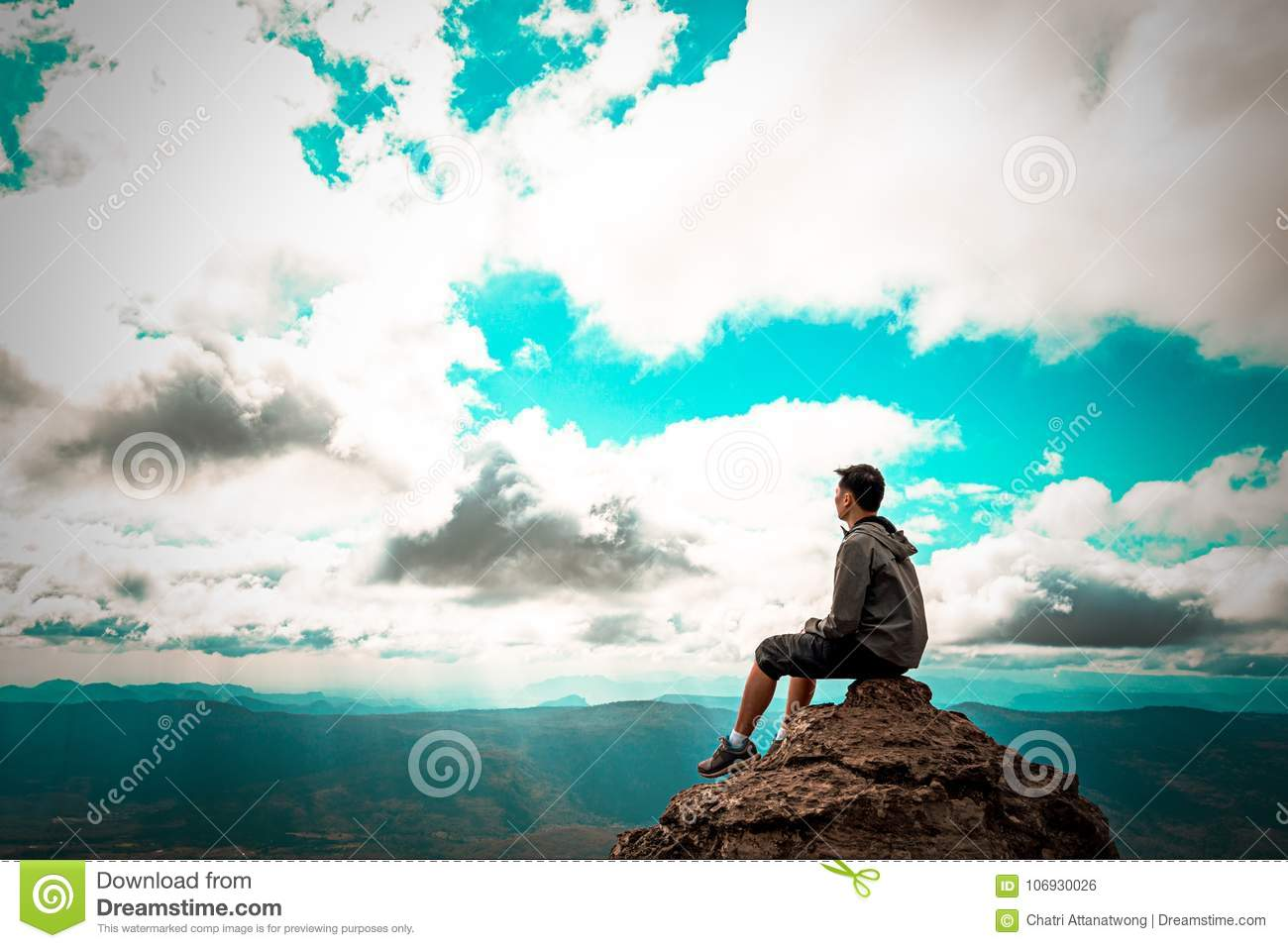 Man Sitting On Rock At Top Of Mountain Looking To Sky Stock Photo Image Of Heaven Backdrop 106930026 Alone man loneliness nature clouds rocks