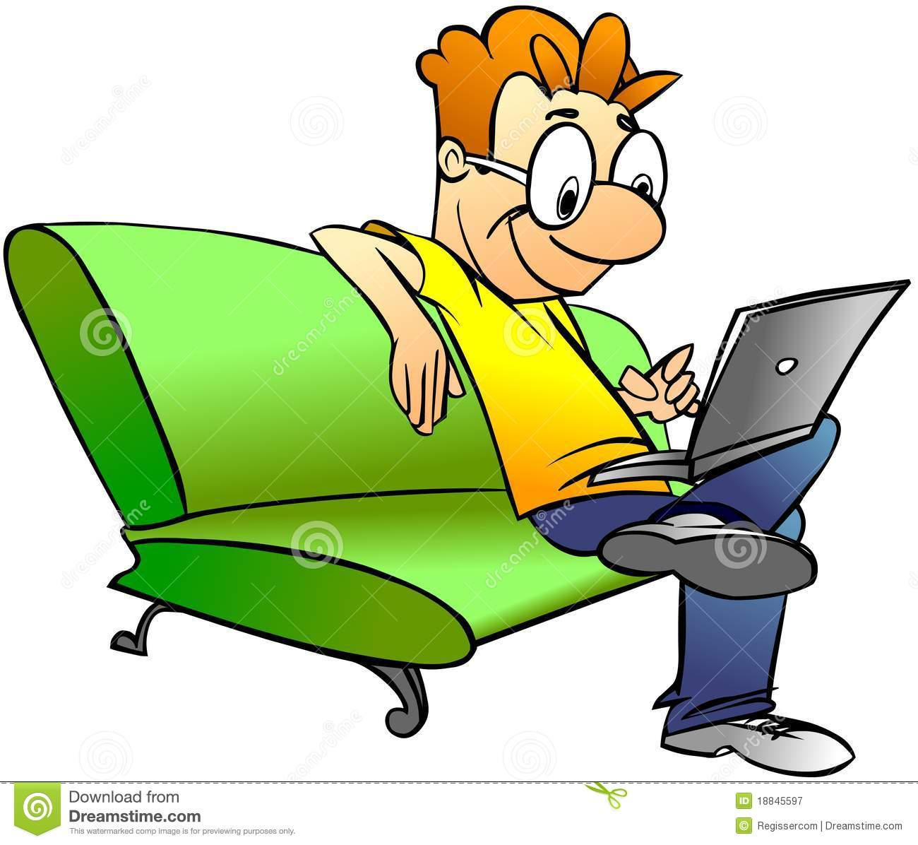 Man Sitting On Sofa With Laptop Stock Illustration