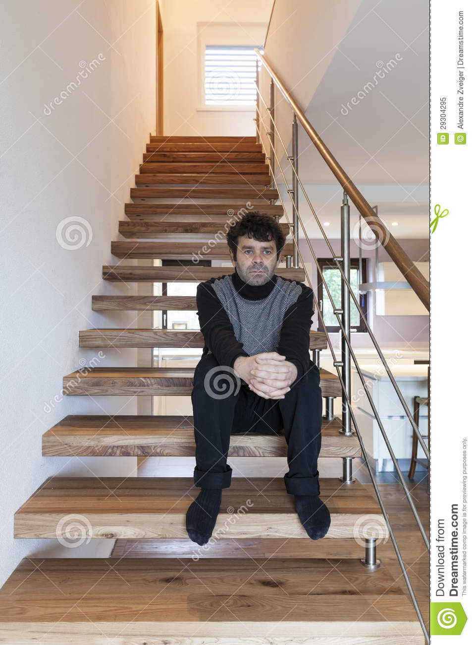 Man Sitting On The Stairs Royalty Free Stock Photo Image