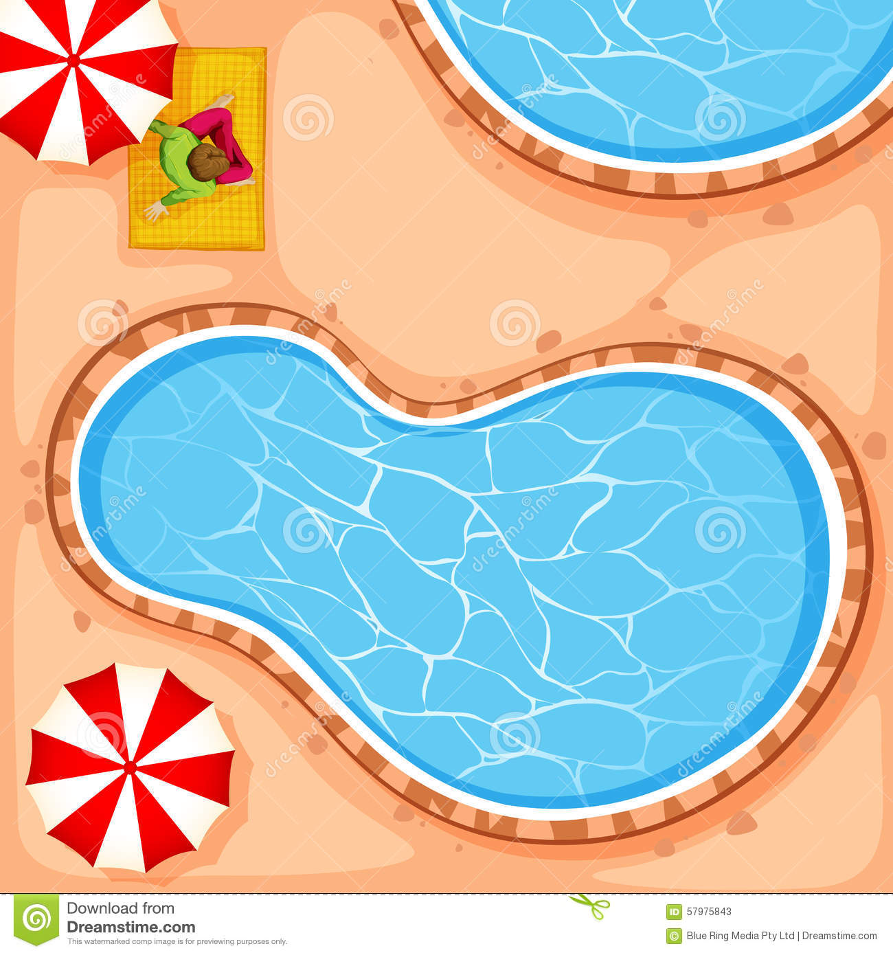 Man Sitting By Swimming Pool Stock Vector Image 57975843