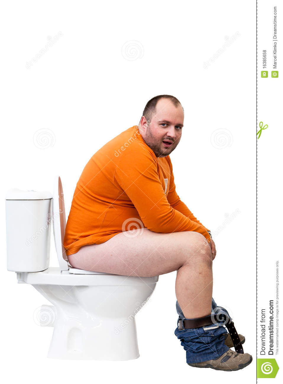 Man Sitting On Toilet Royalty Free Stock Photos Image