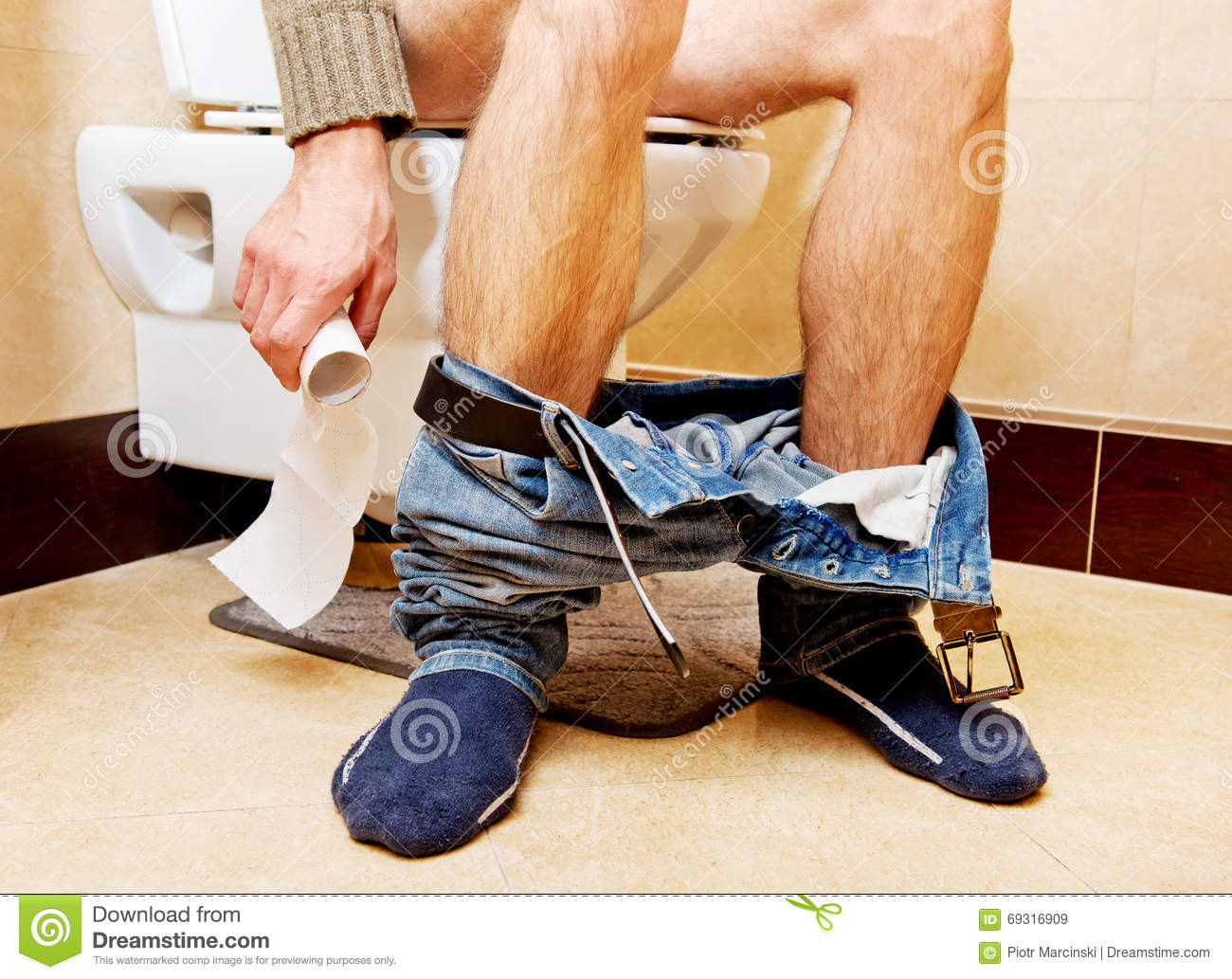 Man Pants Down Sitting Toilet on cartoon person falling down