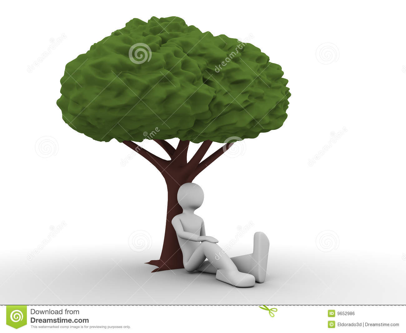 Man Sitting Under The Tree Royalty Free Stock Image