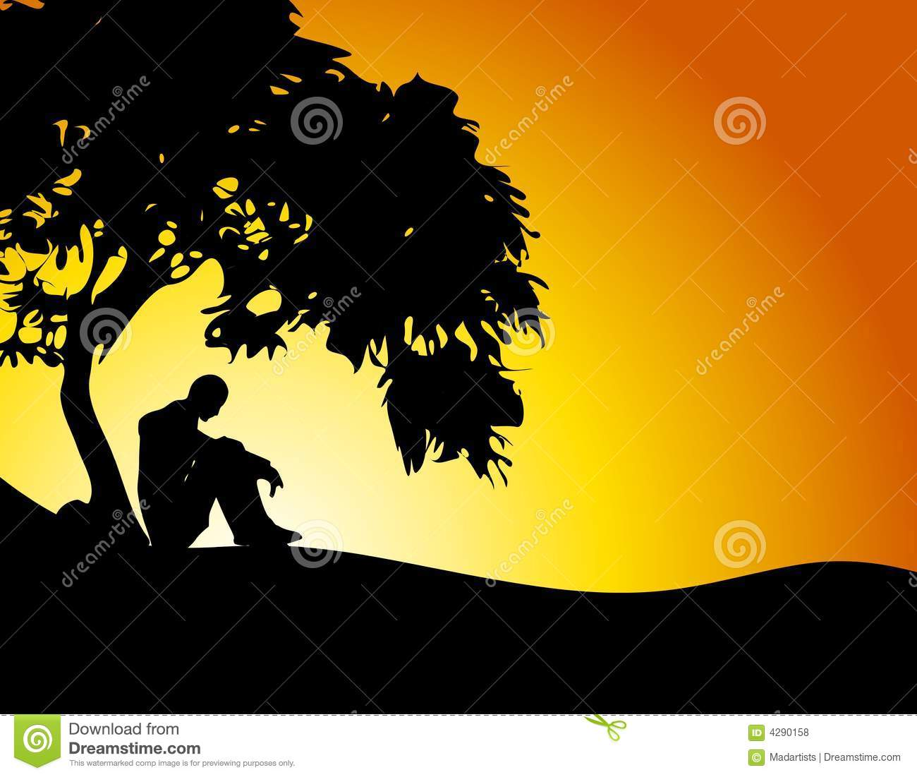 Girl Sitting Under Tree Silhouette Man Alone A On