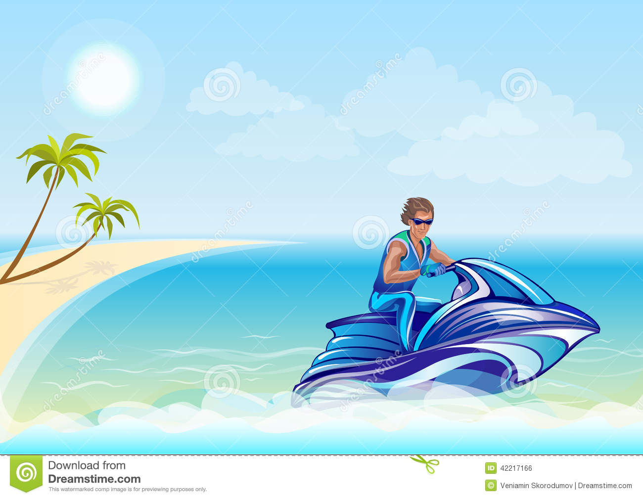 Man Sitting Water Scooter Jet Ski Vector Illustration Background Beach Palm Trees Congratulations Images Stock Photos Vectors