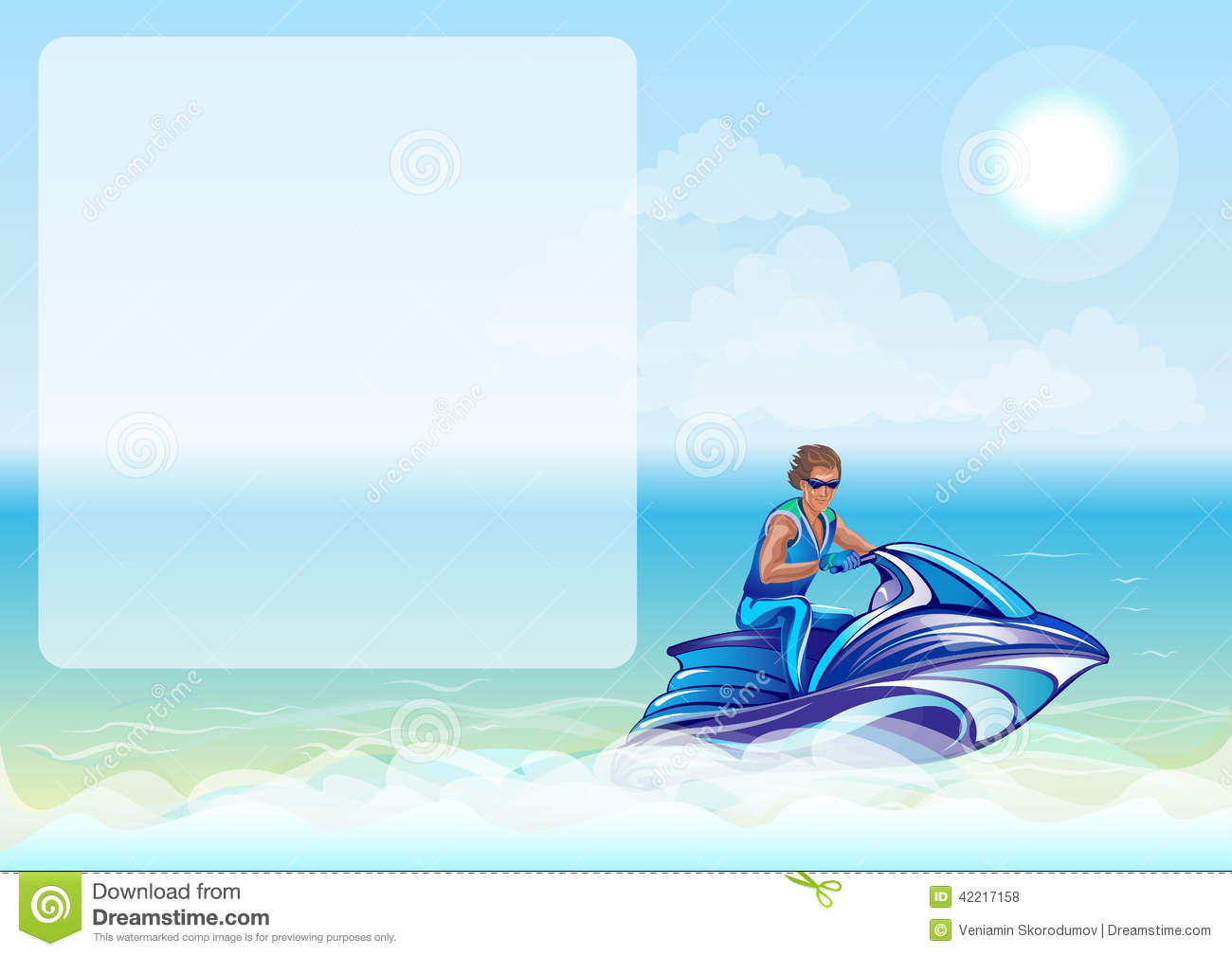 Man Sitting On Water Scooter Jet Ski Stock Vector Image