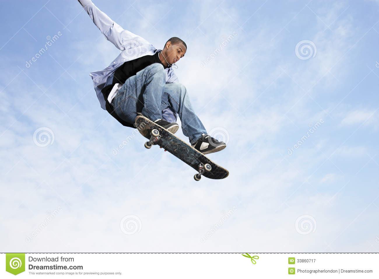 Man On Skateboard In Midair Stock Image Image Of Active