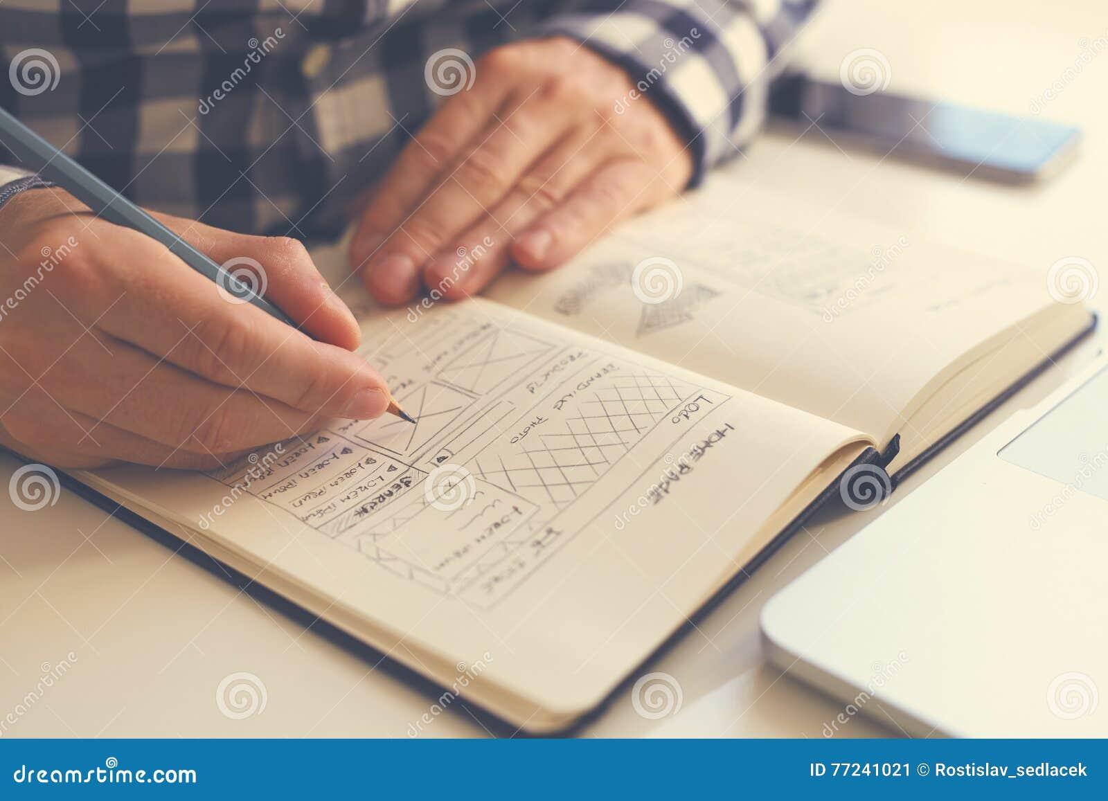 Man sketching graphic sketch