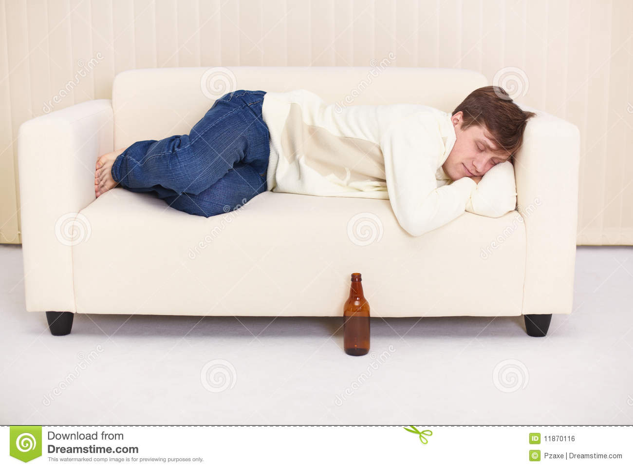 Man Sleep On Sofa Having Got Drunk Beer Stock Photo  : man sleep sofa having got drunk beer 11870116 from www.dreamstime.com size 1300 x 962 jpeg 73kB