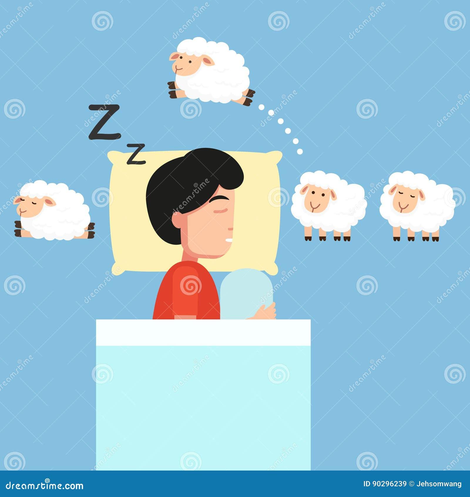 Man Sleeping,counting Sheep To Fall Asleep Illustration Man Sleeping,counting  Sheep To Fall