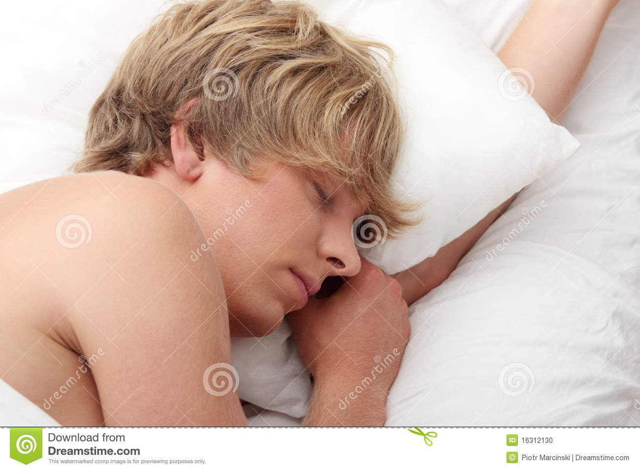 Man Sleeping In His Bed Stock Photo - Image: 16312130