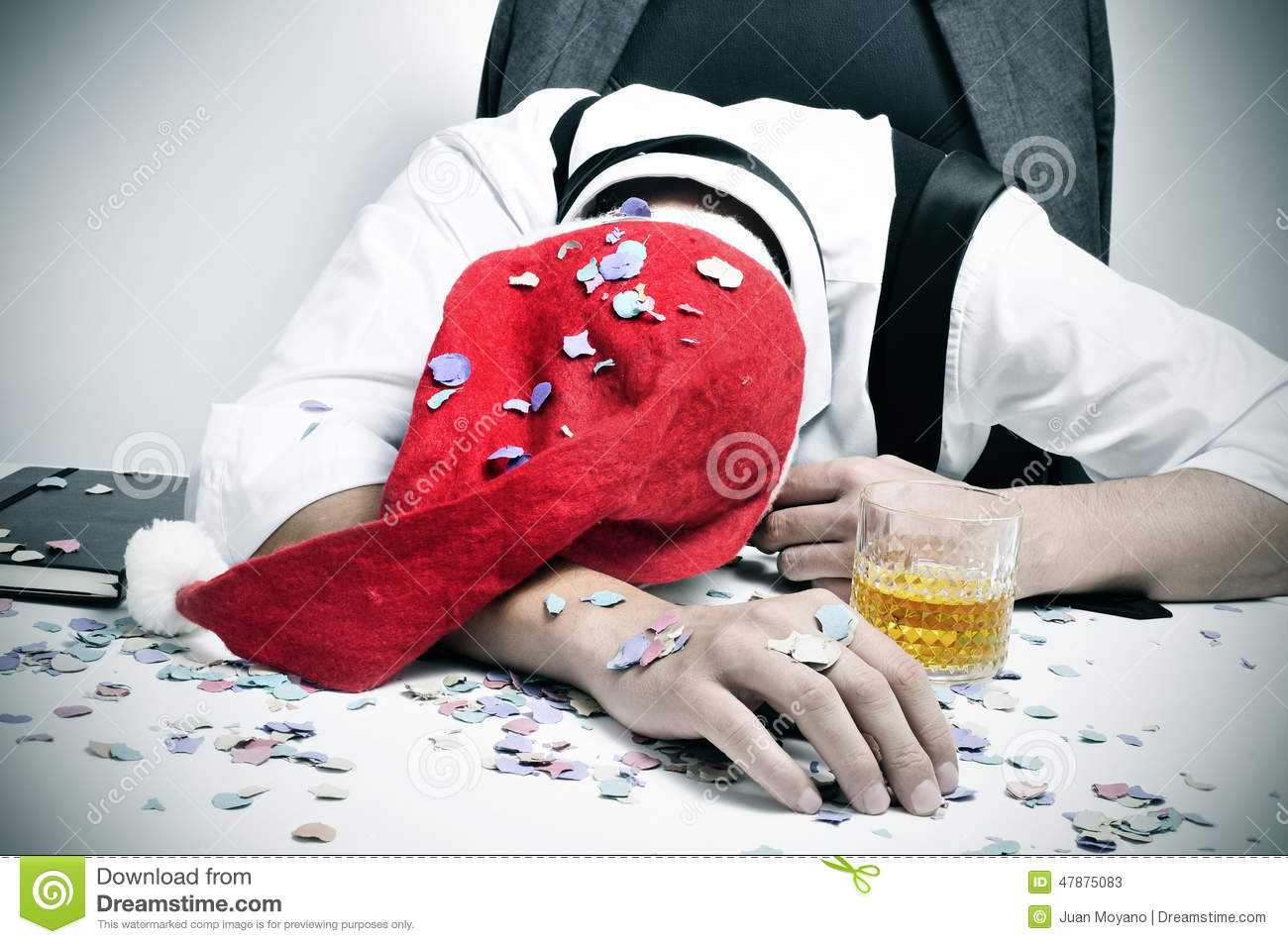 Man Sleeping In The Office After A Christmas Party Stock Photo ...