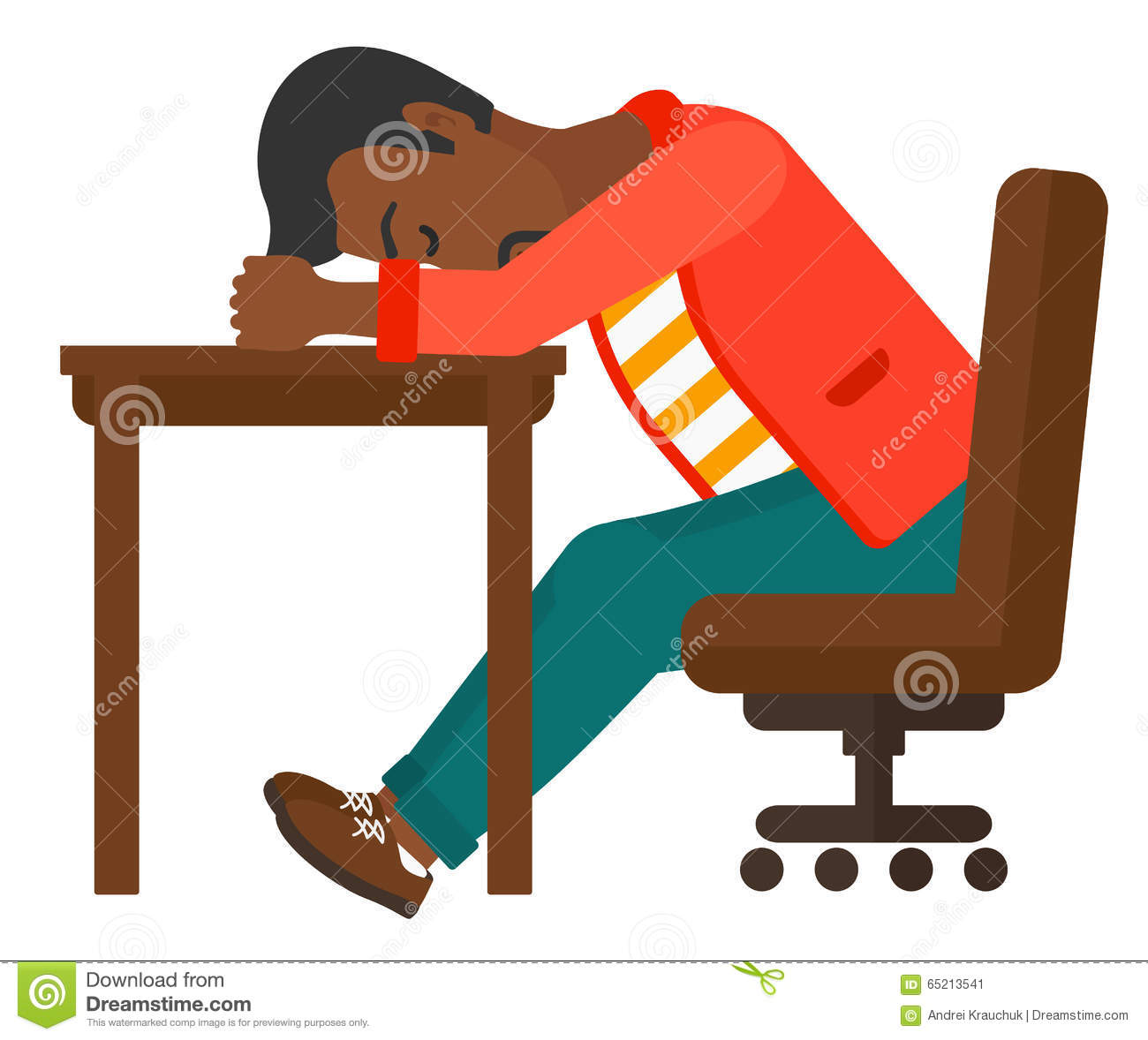 Man sleeping on table stock vector illustration of for Table design vector