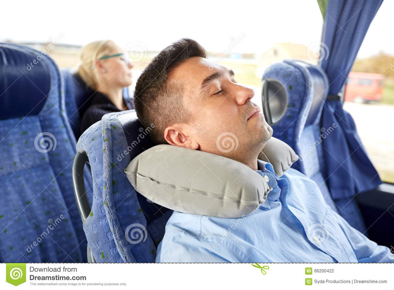 Man Sleeping In Travel Bus With Cervical Pillow Royalty ...