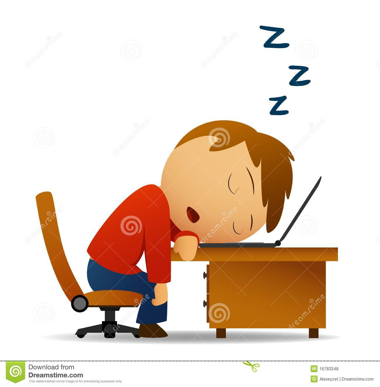 Man Sleeping At Work Table Over Laptop Royalty Free Stock
