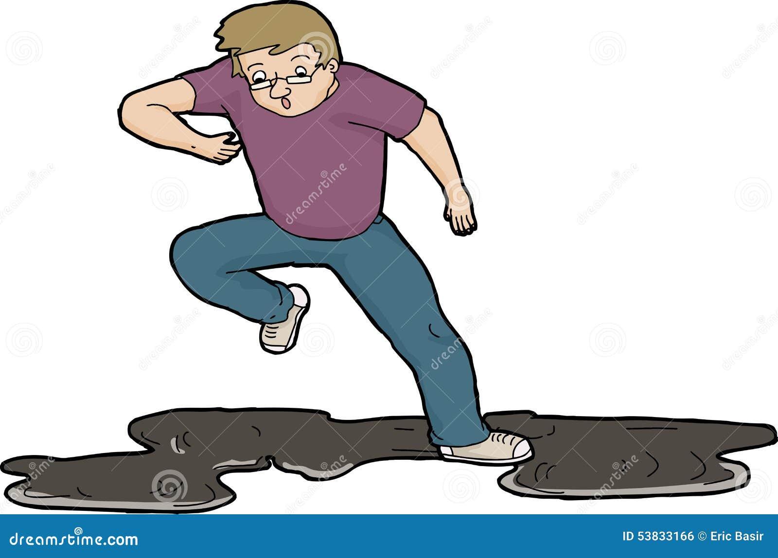 Cartoon Man Slipping On Spillage Royalty Free Stock Image - Image ...