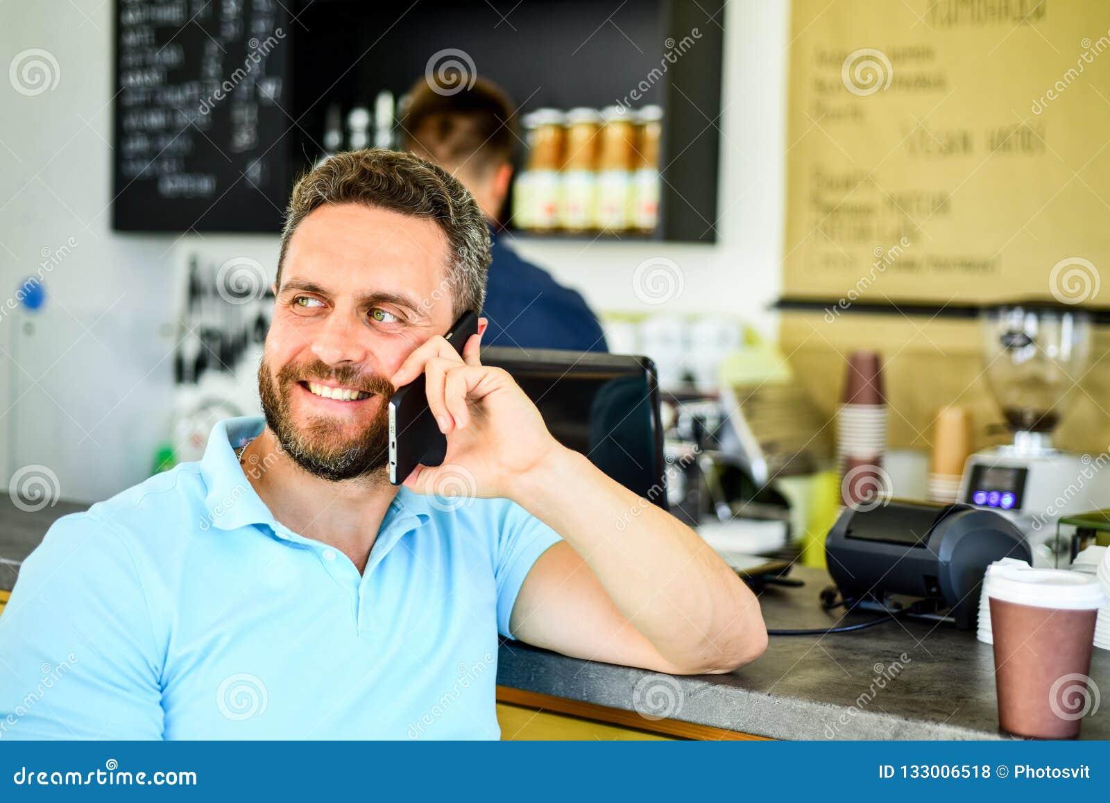 Take Break Coffeebreak : Man with smartphone order coffee coffee break concept lets meet