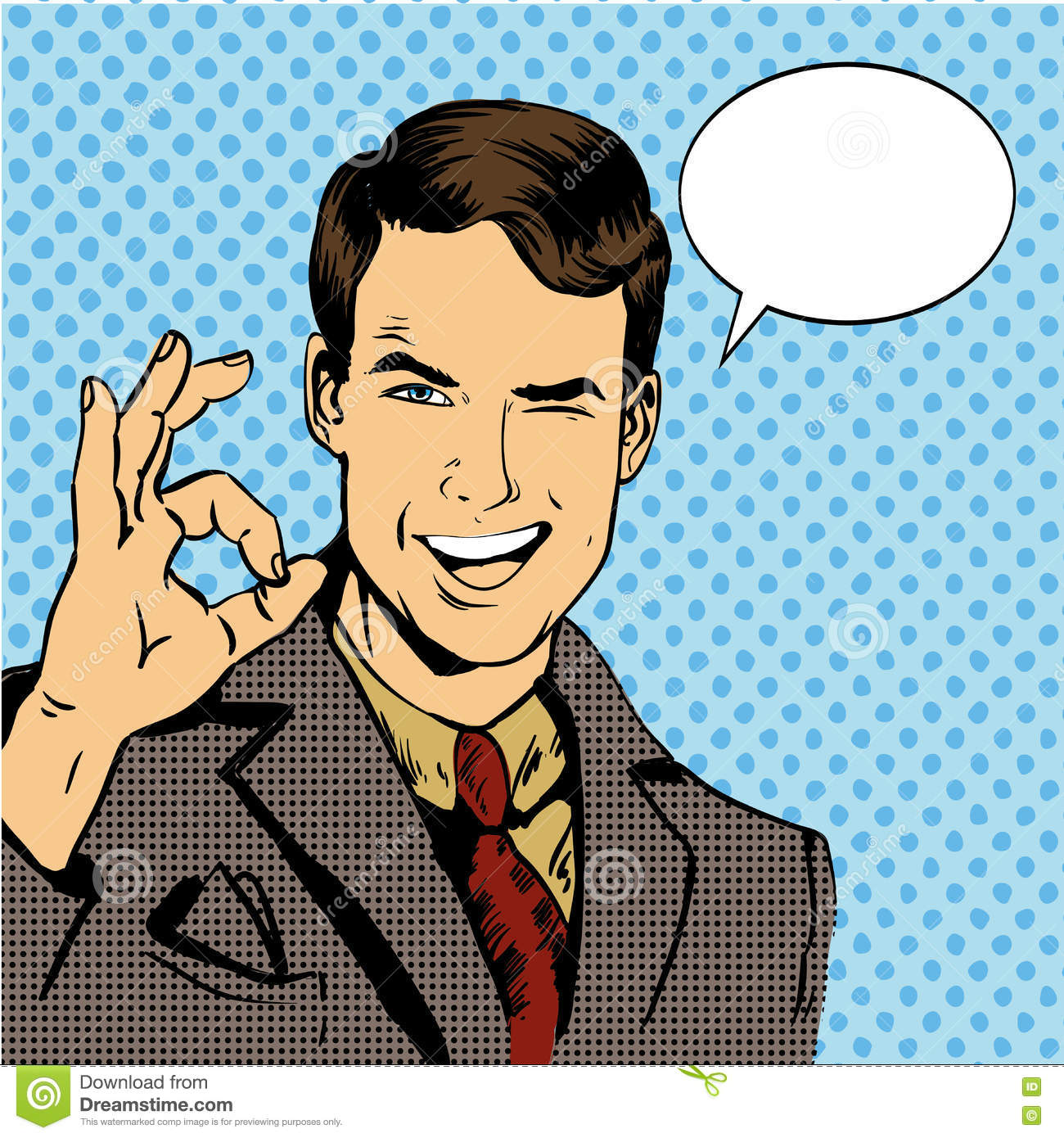 Man smile and shows OK hand sign with speech bubble. Vector illustration in retro comic pop art style