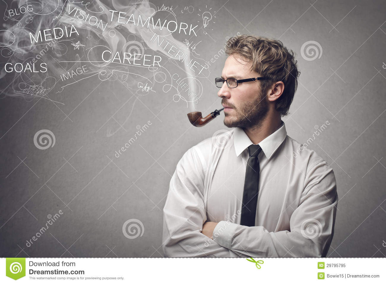 Man Smoking A Pipe Stock Image Image Of Pipe Indoor