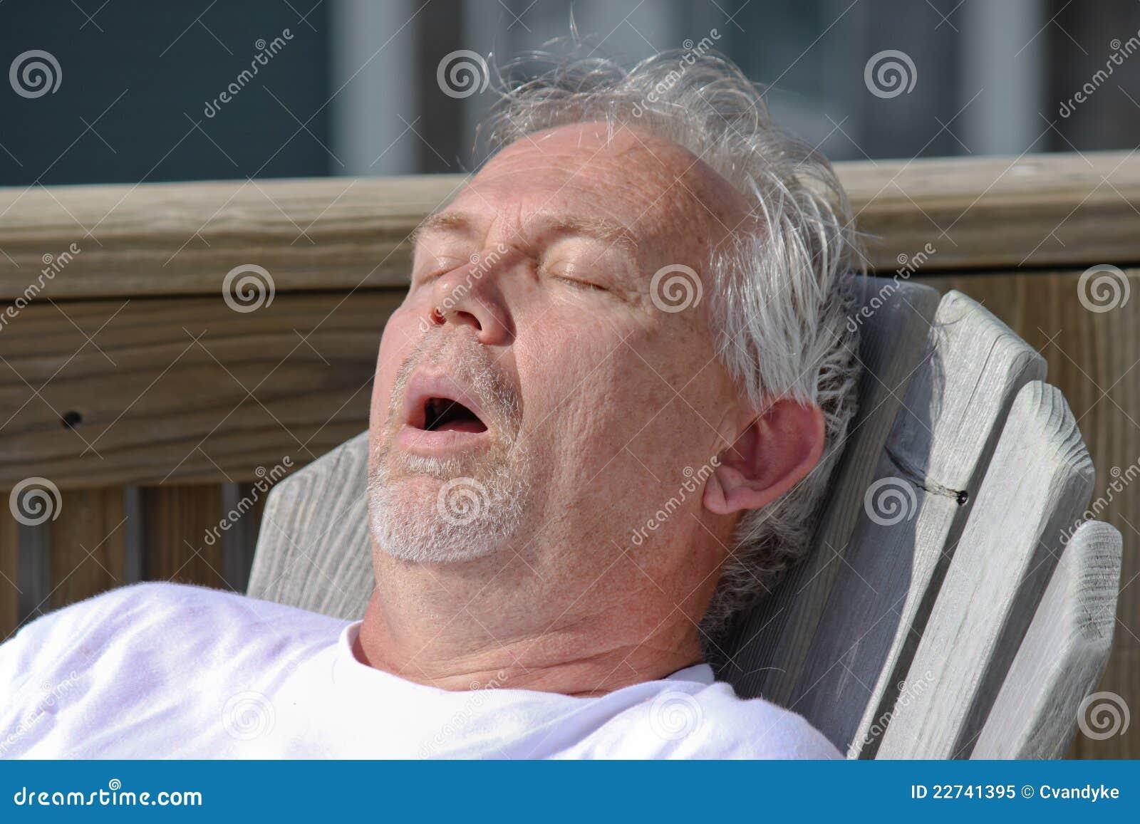 Man Snoring Outdoor Nap