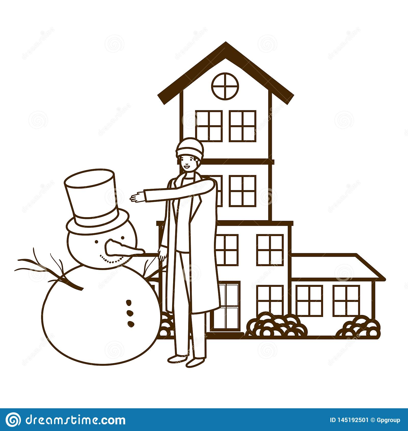 Man with snowman outside of the house