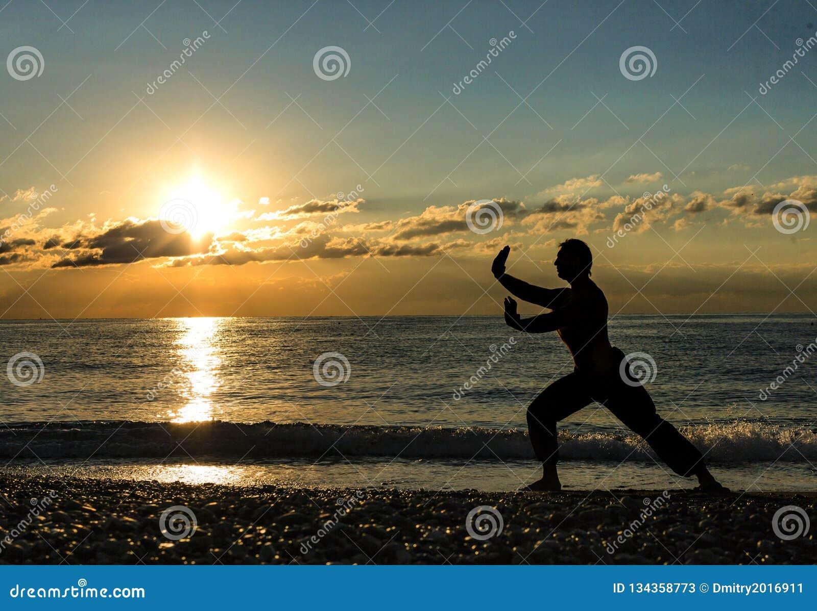 Man som öva Wushu på solnedgången Kontur av en man på solnedgång