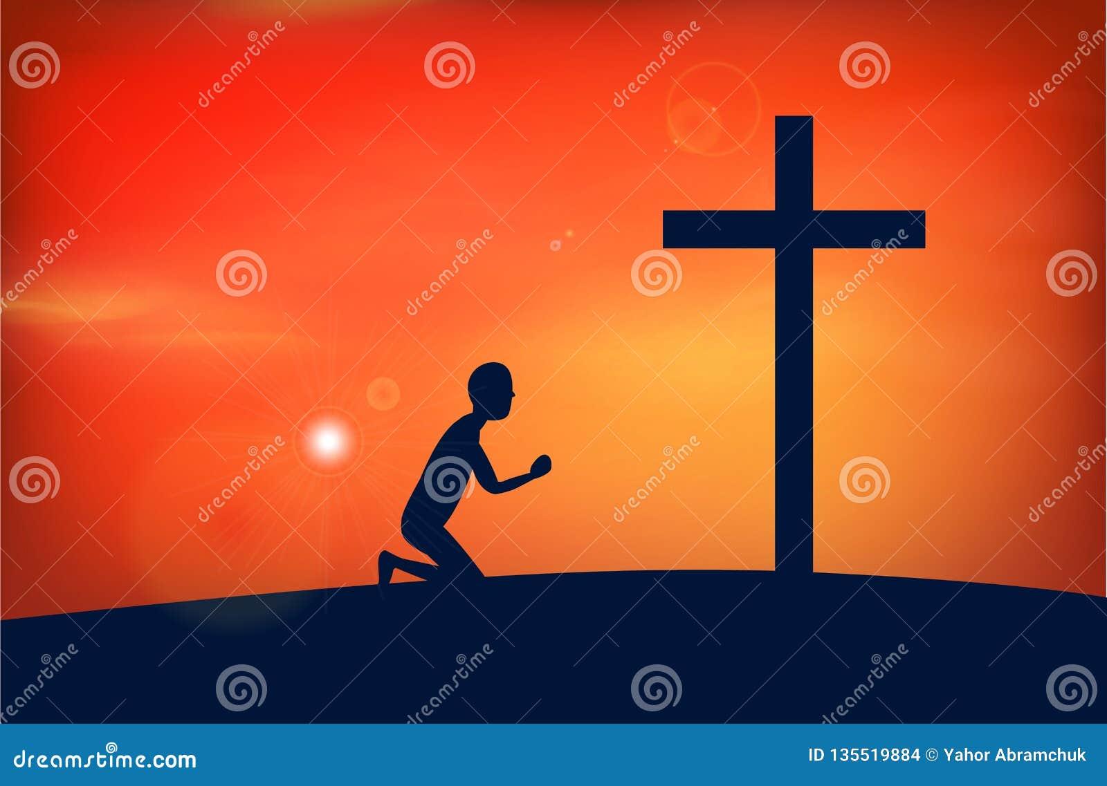 Man som ber till guden, jesus,