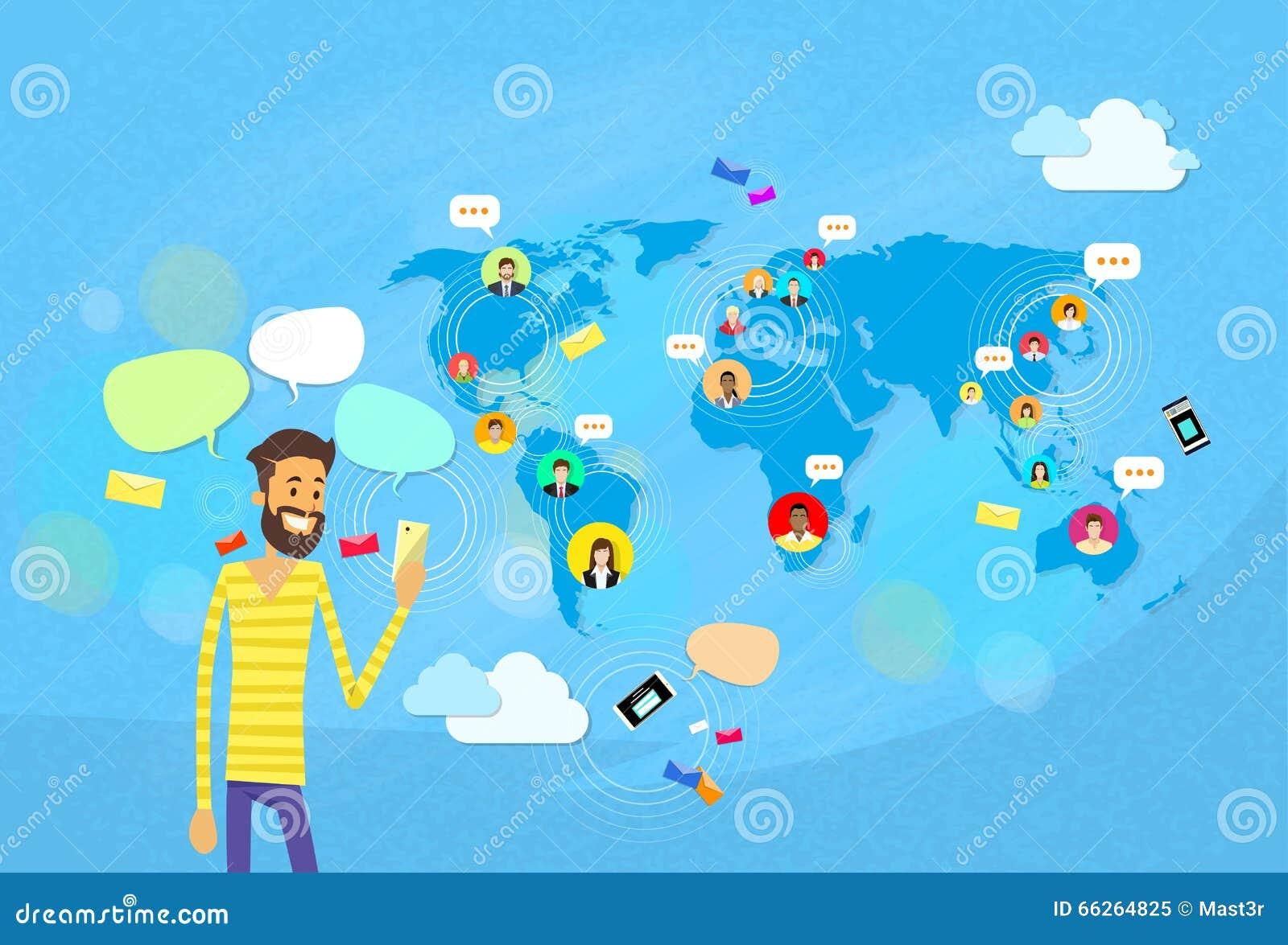 Man som pratar att smsa, social världskarta för nätverkskommunikationsbegrepp