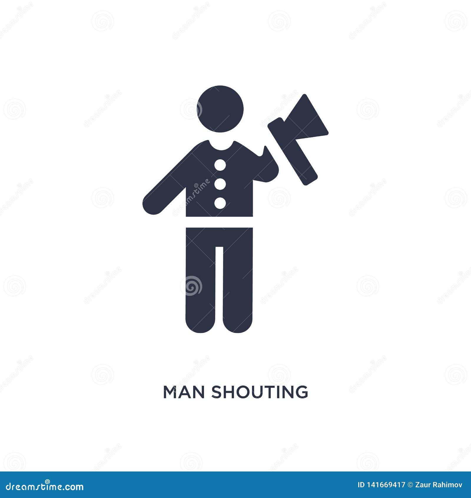 Man som ropar symbolen på vit bakgrund Enkel beståndsdelillustration från uppförandebegrepp