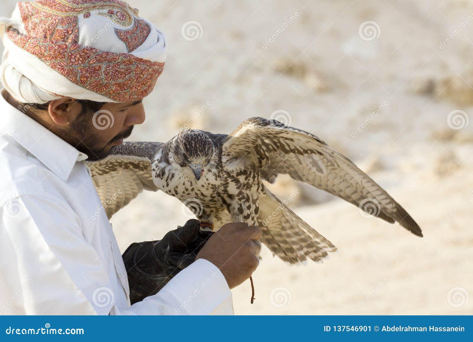 Man som rymmer hans falk, innan att använda den för att jaga fåglar