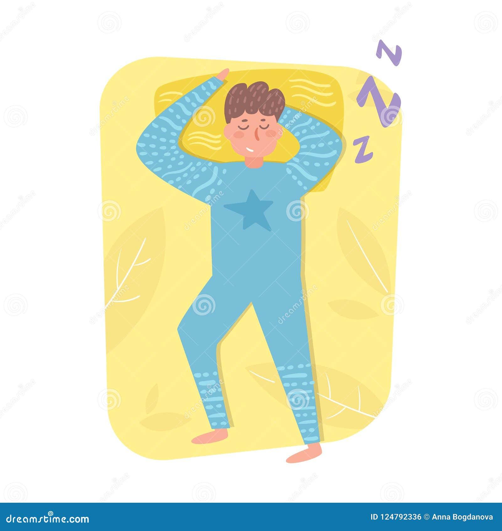 Man som sover i sängvektor cartoon Isolerad konst på vit bakgrund