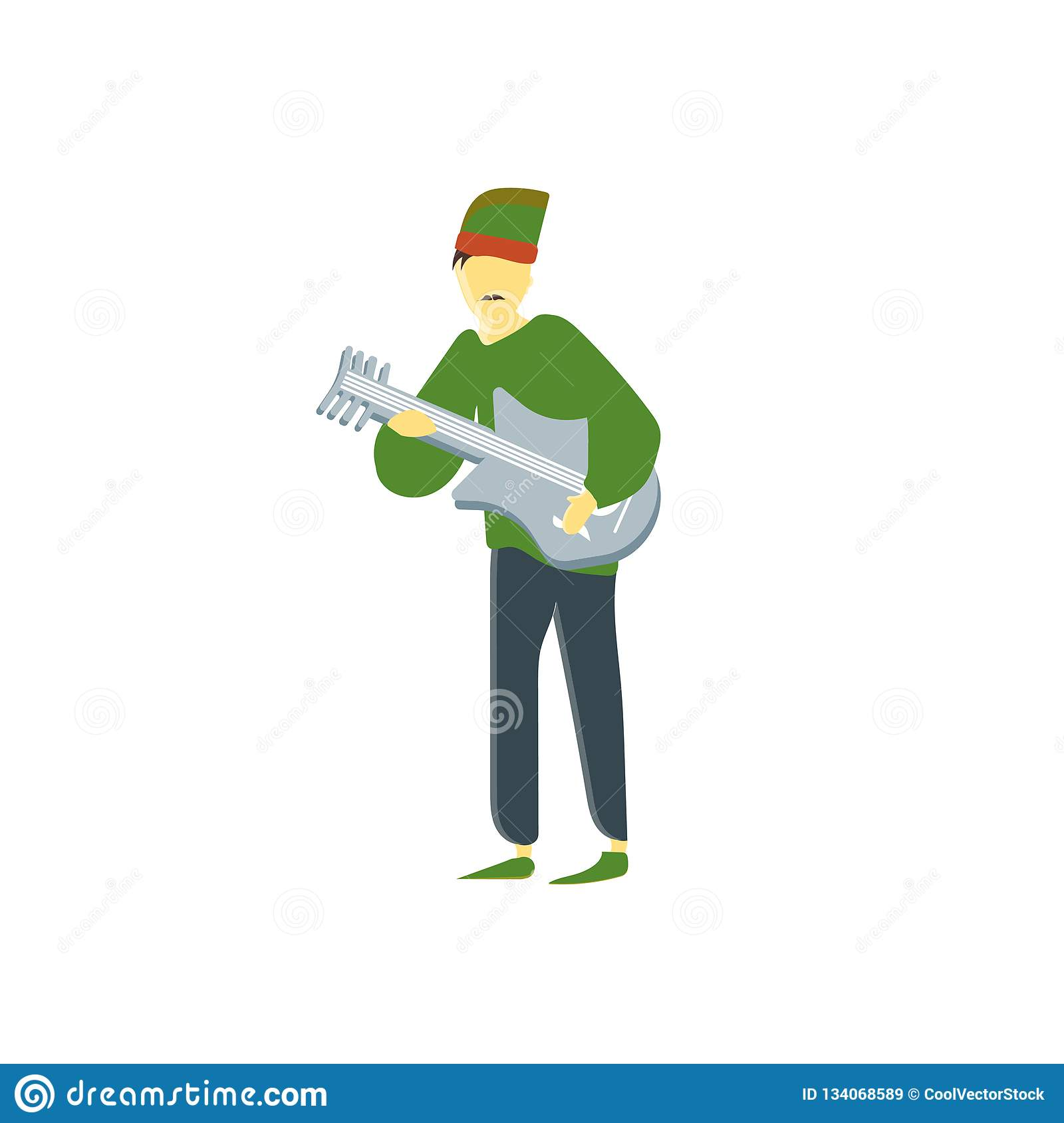 Man som spelar tecknet och symbolet för gitarrvektorvektor som isoleras på vit bakgrund, man som spelar begrepp för gitarrvektorl