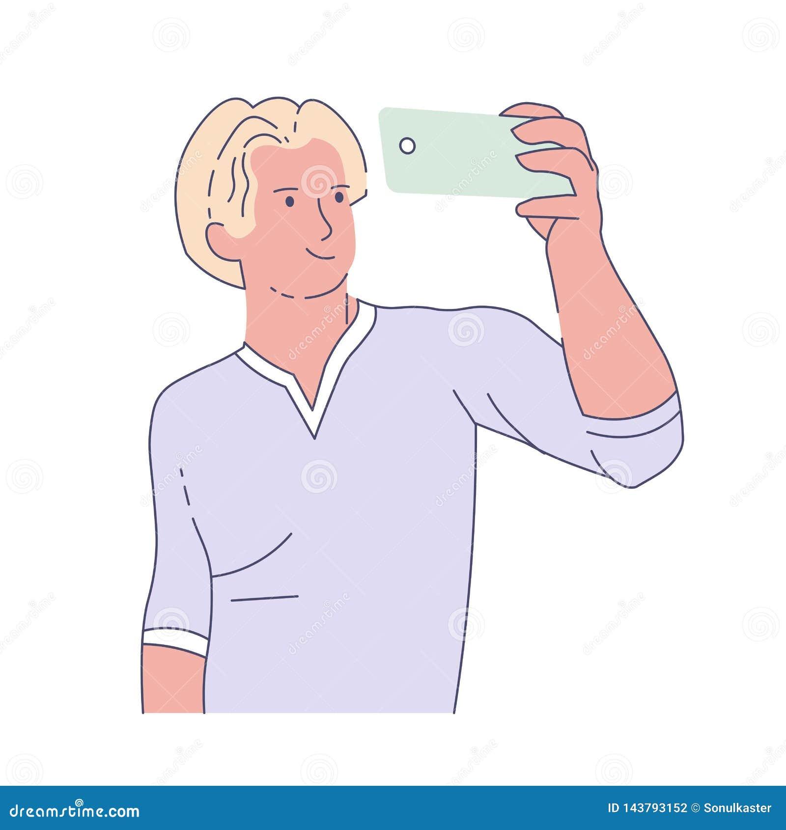 Man som tar selfie med frontal kamerafotografi för smartphone