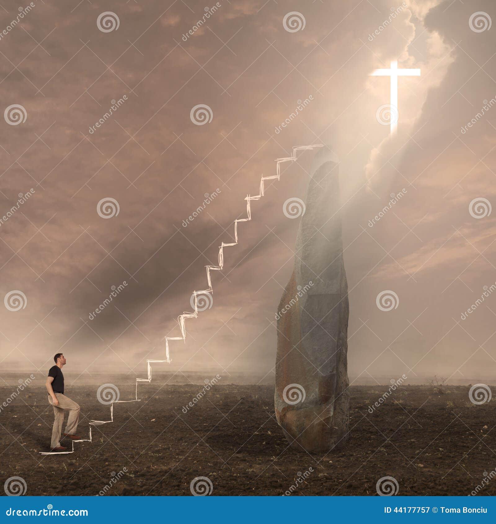 Man som tillber guden Korset visas i himmel