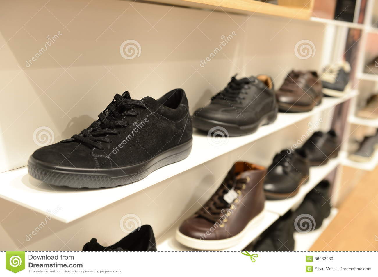 Man sport shoe in the store
