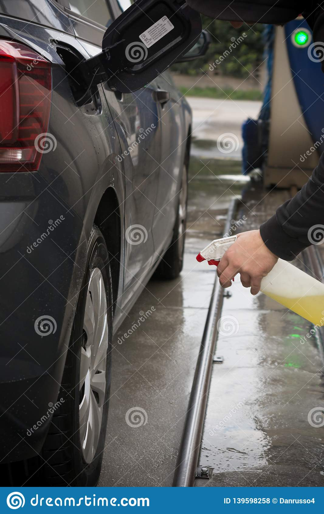 What Kind Of Soap To Wash A Car >> Man Spraying Car Soap For Washing A Car Stock Photo Image