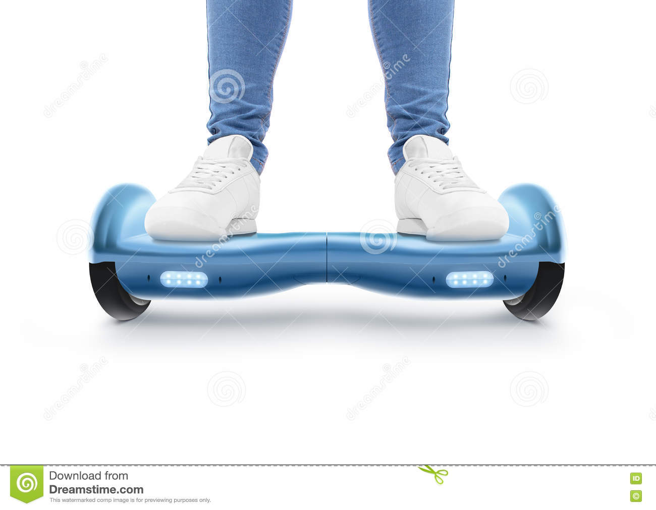 Man Stand On Blue Hyro Scooter Isolated Stock Image