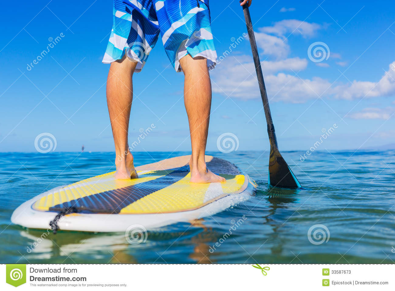 Man On Stand Up Paddle Board Stock Image Image 33587673