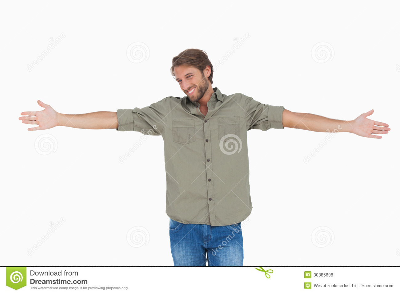 man standing with arms outstretched stock photo image of stylish