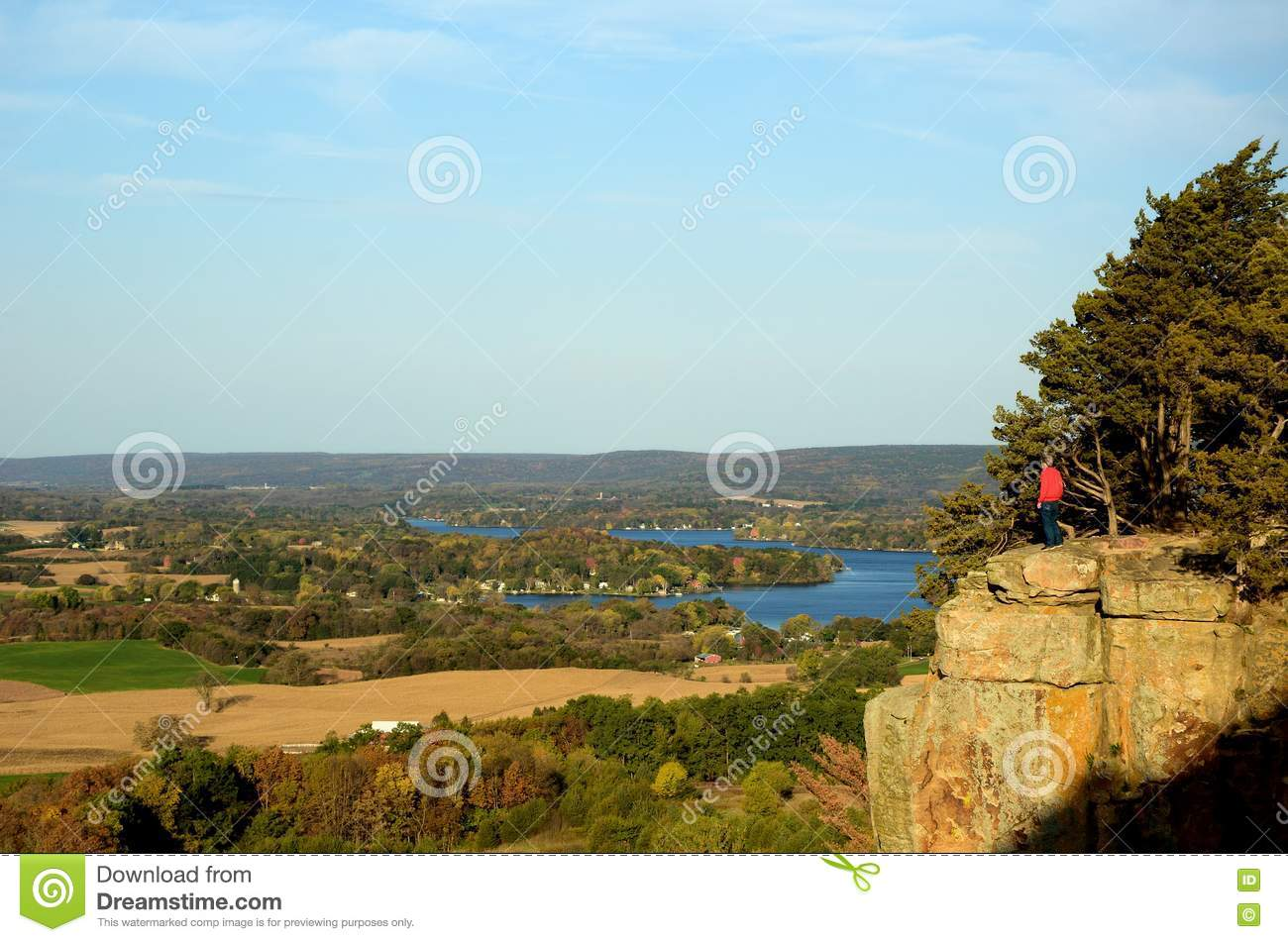 Man Standing on a Cliff at Gibraltar Rock State Natural Area