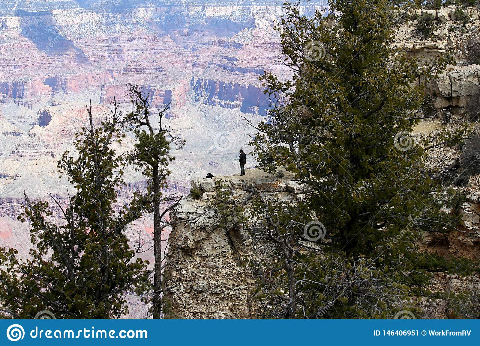 Man standing on the south rim of the Grand Canyon.