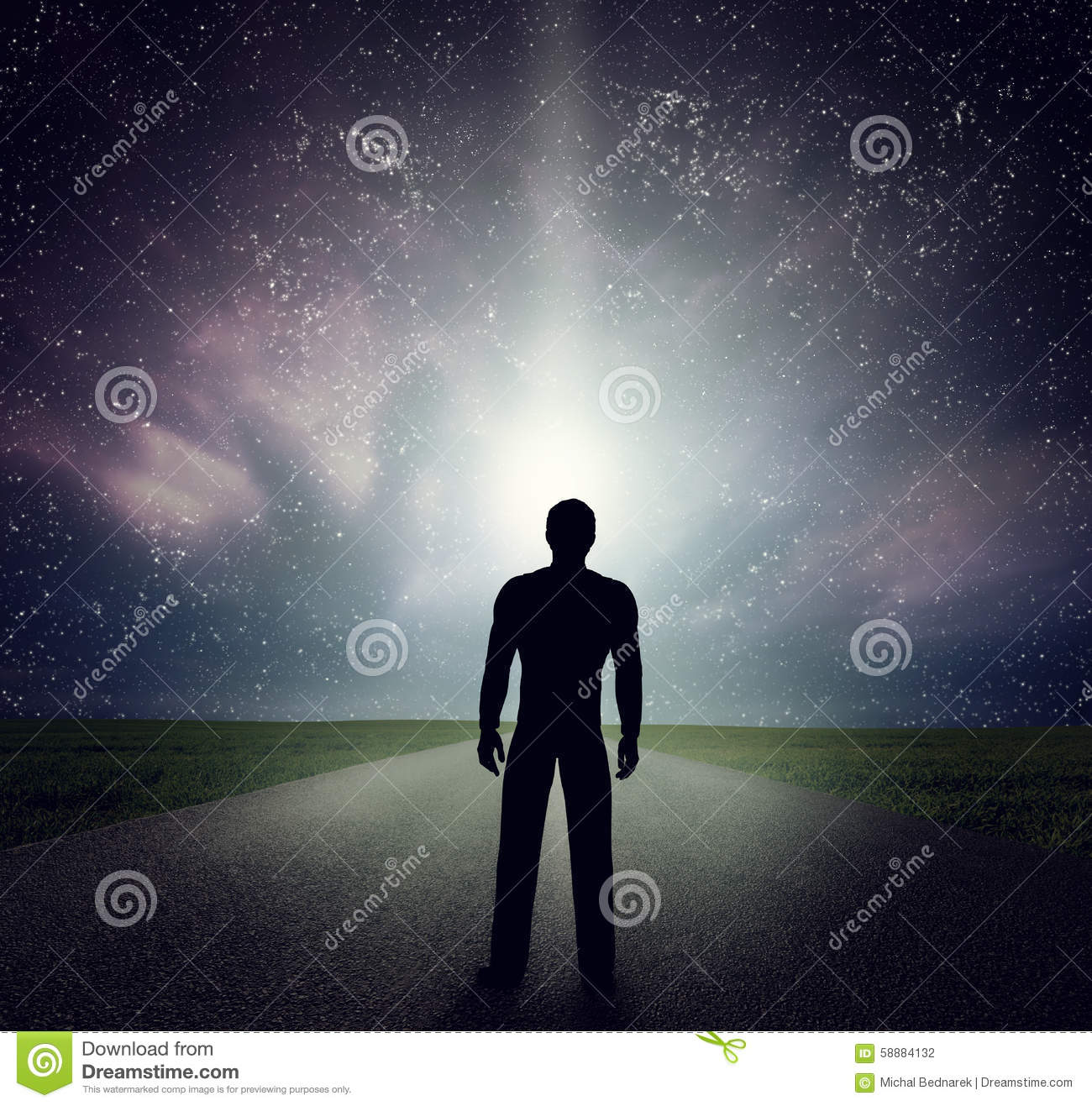 Man standing on the road looking at stars, sky, universe. Dream, adventure.