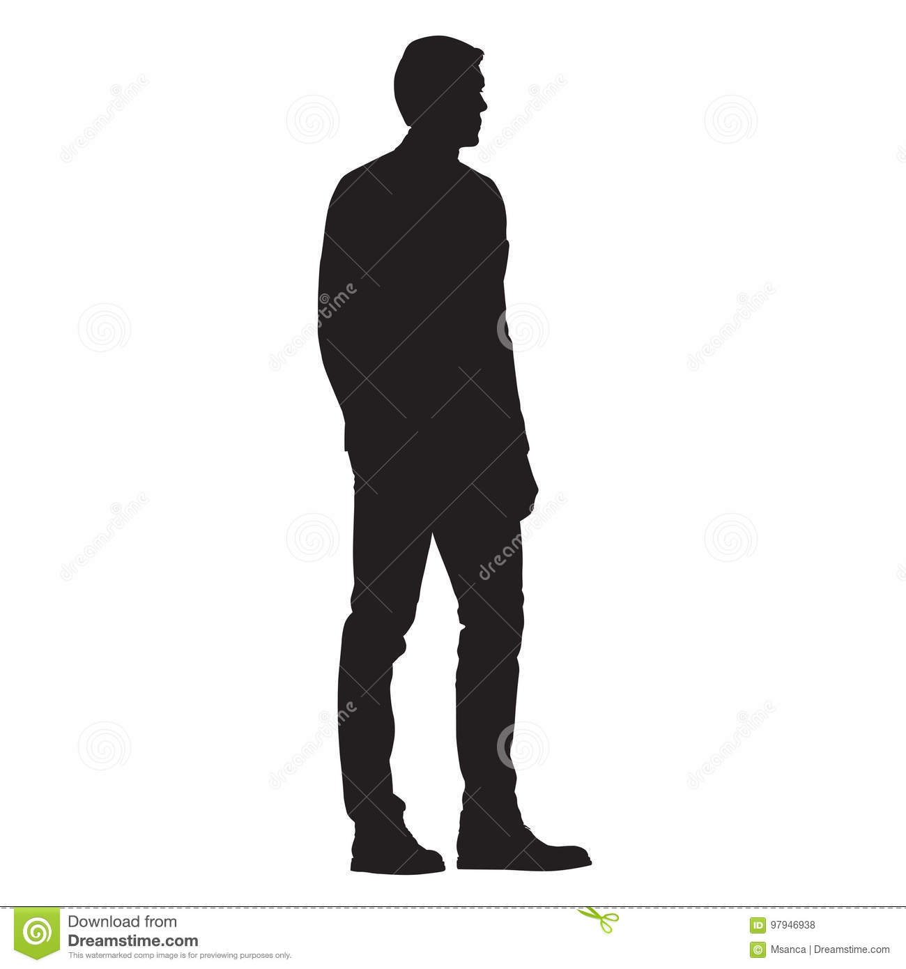 man standing side view isolated silhouette stock vector
