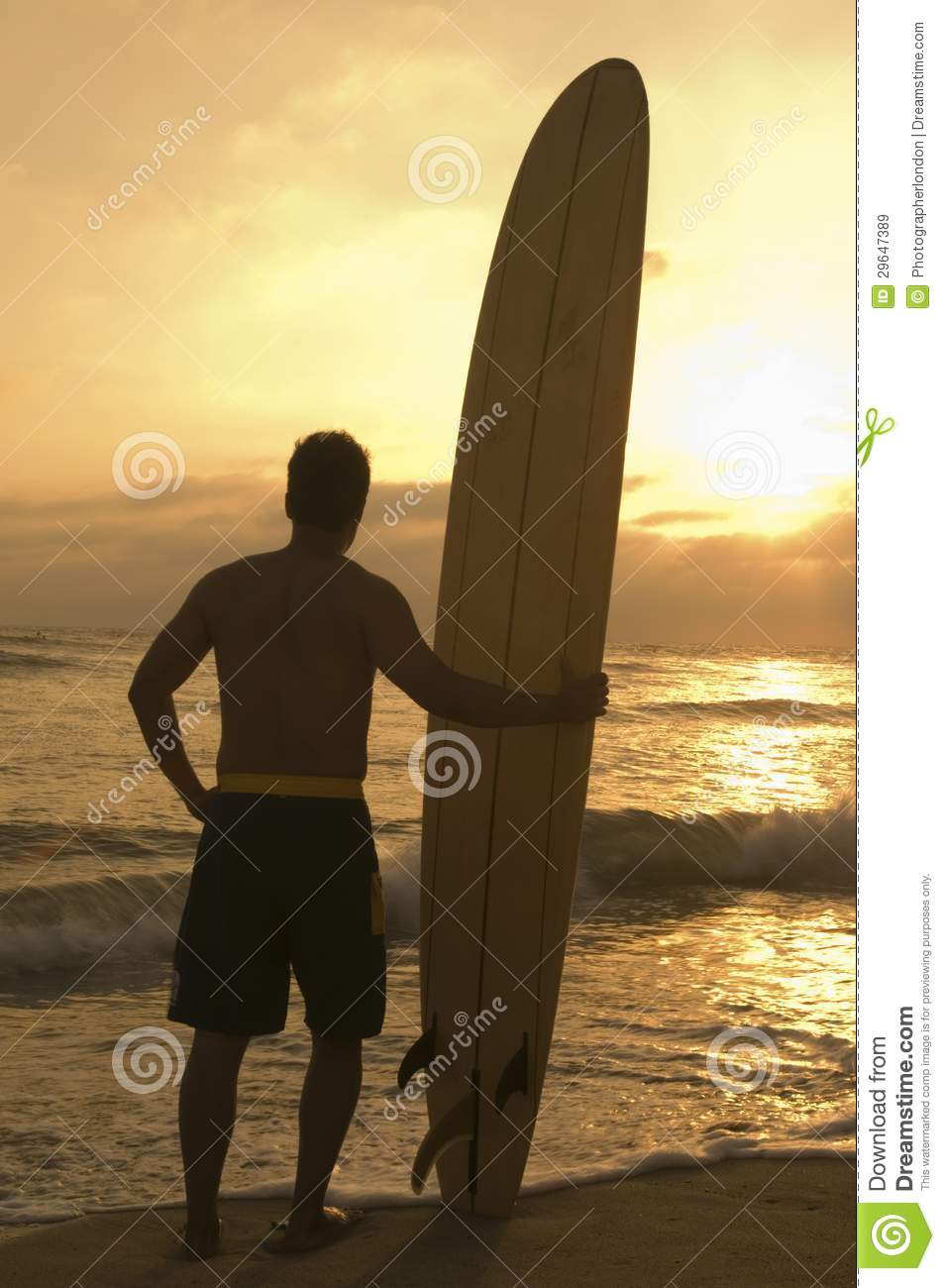 Man Standing With Surfboard At Sunset Stock Image Image Of