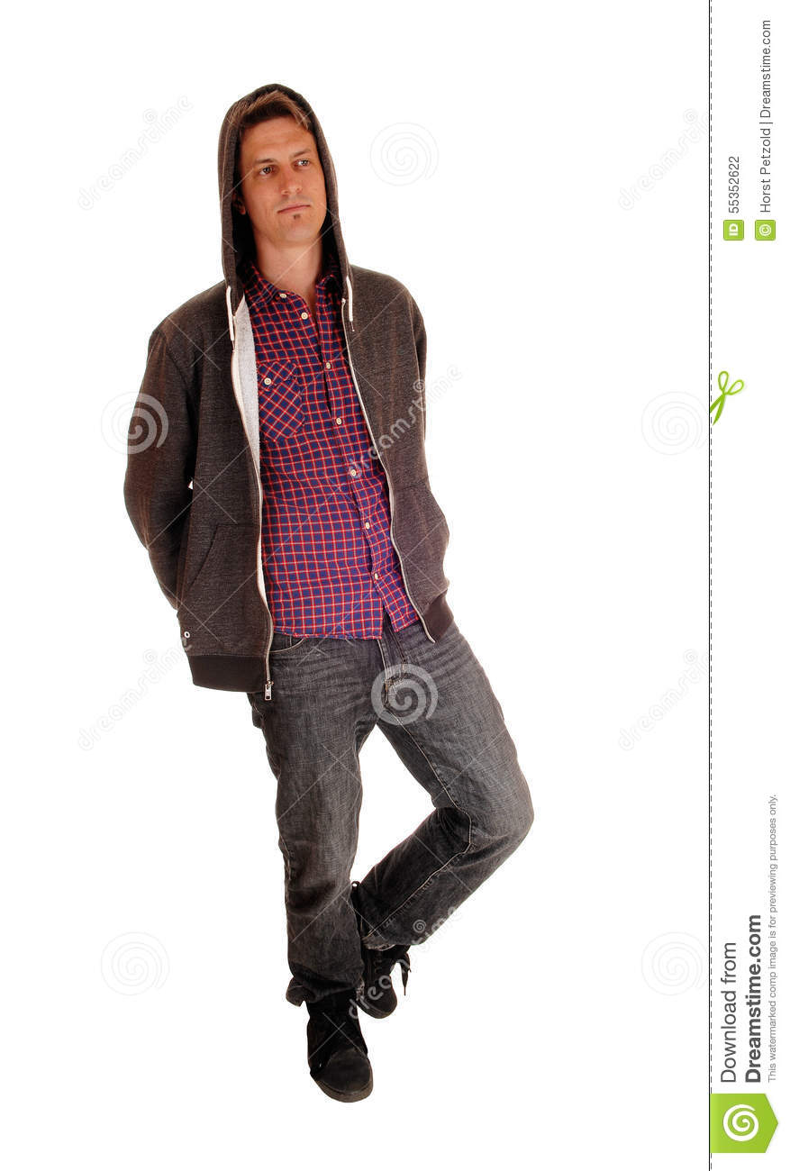 full body hoodie man standing wearing a hoody stock photo image 55352622 6624